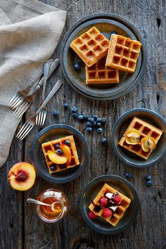 Waffles photographed by Lew Robertson, Food Stylist Ingrid Young, Prop Stylist Steph Fowler