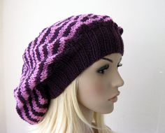 Pink and Purple Baggy Beanie Hat Striped