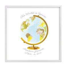 """Flower Globe"" - Children's Custom Art Print by Baumbirdy in beautiful frame…"