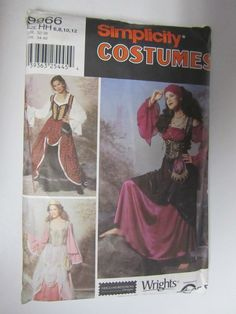 Simplicity 9966 Renaissance Medieval Dress Gypsy Princess Wench 6 8 10 12 UNCUT #Simplicity
