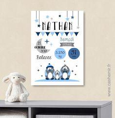 Affiche naissance bébé, cadeau de naissance garçon personnalisé, tableau chambre bébé enfant, animaux - Fichier Imprimable - n°23 : Décoration pour enfants par cashemir