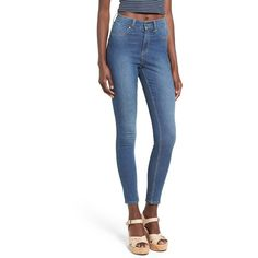 Cheap Monday 'High Spray' High Rise Skinny Jeans ($75) ❤ liked on Polyvore featuring jeans, mid blue, stretch skinny jeans, blue jeans, stretchy skinny jeans, high-waisted skinny jeans and vintage high waisted jeans