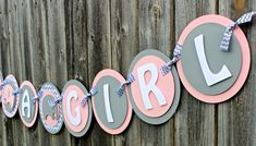 Super adorable ITS A GIRL elephant elephant banner in pink, gray, and gray chevron print. Convo me for other color combinations. Each pennant