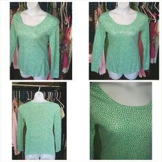 Very cute sequin polka top CLEARENCE Very cute sequin polka top Long sleeve   By: Old Navy  Size: Medium   Clear sequin only on front of top.   Mint green with white polka dots all over top Old Navy Tops Tees - Long Sleeve
