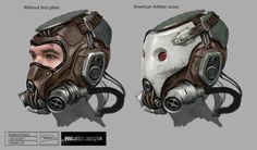 Cyberpunk, Sci-Fi, Steampunk, Cyber Mask, Helmet, Science Fiction, Post-Apocalyptic, Drawed by Robert Simons