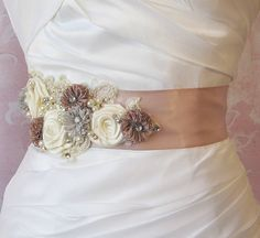 Dusty Mauve and Antique Ivory Sash, Rose Bridal Sash, Mauve and Gray Wedding Belt with Rhinestones, Pearls, and Lace -WHIMSY Mauve Wedding, Fall Wedding Colors, Autumn Wedding, Dream Wedding, Wedding Belts, Wedding Attire, Wedding Dress, Satin Sash, Bridal Sash