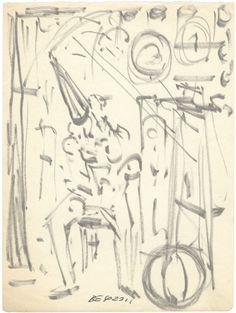 """Ermanno Besozzi pittore s.d. (1950) Pagliaccio pennarello su carta cm. 16x12 arc. 15 Bibliografia: E. Baj, F. B. Negri, P. Tolu monografia """" Fogli ritrovati"""" 1991 ripr"""