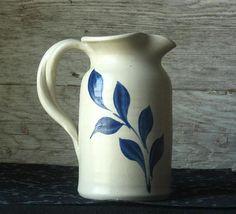Vintage Hand-Carved Cobalt Salt Glaze Williamsburg Pottery Small Pitcher