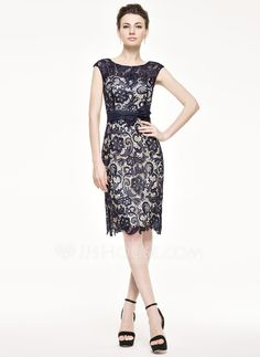 Sheath/Column Scoop Neck Knee-Length Bow(s) Zipper Up Cap Straps Sleeveless Yes 2015 Dark Navy Spring Summer Fall Winter General Plus Taffeta Lace Mother of the Bride Dress