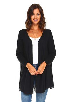 Simplicitie Women's Plus Size Long Sleeve Loose Fit Flare Flowy Cardigan Sweater Jacket - Black, - Made in USA Girl Costumes, Sweater Jacket, Toddler Girl, Tunic Tops, Plus Size, Long Sleeve, Fitness, Sleeves, Sweaters