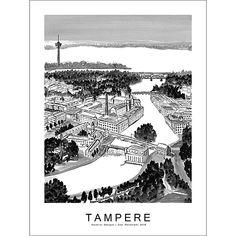 TAMPERE juliste 30 x 40 cm Kaverini design | Gide Lahja- ja sisustusliike Monet, Walls, Tapestry, Design, Home Decor, Hanging Tapestry, Tapestries, Room Decor, Wands