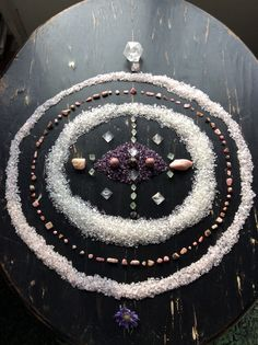 Morganite, Rodochrosite, Rhodonite, Rose Quartz, Quartz, Fluorite, Amethyst and Scabiosa - with love from Woodlights Woudlicht Crystal Magic, Healing Crystal Jewelry, Crystal Grid, Wicca, Magick, Witchcraft, Crystals And Gemstones, Stones And Crystals, Crystal Aesthetic