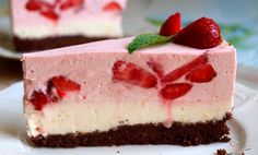 Nepečené jahodové řezy s tvarohem a smetanou – RECETIMA Ice Cream Candy, Strawberry Cakes, Pudding Cake, Cake Icing, Desert Recipes, No Bake Cake, Cake Cookies, Food And Drink, Cooking Recipes