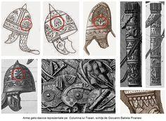 """Pomul vieţii este reprezentat pe armele geto-dacilor, în mod special pe coifuri şi scuturi, pentru ca o parte din energia regeneratoare a acestuia să fie transferată asupra acestor ultime paveze în calea armelor duşmane şi astfel, trupul luptătorului să fie protejat. Conştientizarea acestei energii protectoare furniza eliberarea de teama morţii şi canaliza încrederea în nemurire spre un comportament de """"berserkr"""" - luptători nordici care aveau furia unui urs şi luptau fără teamă de moarte…"""