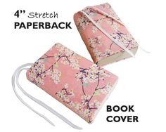 """Floral Paperback Book Cover in CHERRY BLOSSOMS, 4"""" Mass Market Size, Book Sleeve for Paperback Books, Book Accessories, Book Pouch, Book Buddy . . . $8.50 . . . by #SEWINGtheABCs on Etsy"""