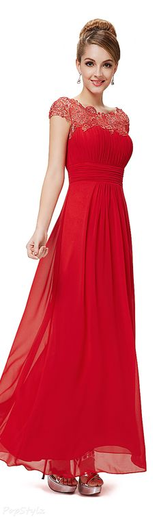 Lace Neckline Evening Gown