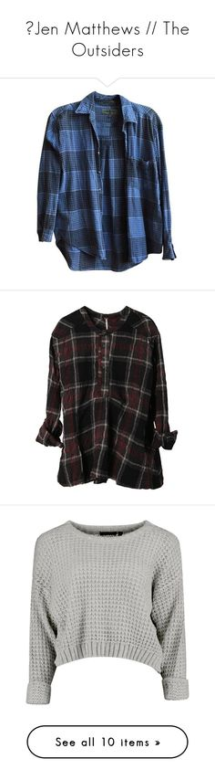 """""""♔Jen Matthews // The Outsiders"""" by shelleyschennigs ❤ liked on Polyvore featuring tops, shirts, clothing - ls tops, flannel, long sleeve shirts, long sleeve button up shirts, button down shirt, blue flannel shirt, plaid flannel shirt and flannel shirt"""