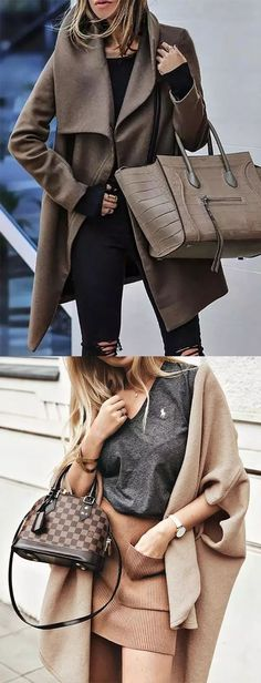 Casual Fall Outfits, Casual Wear, Women's Casual, Cute Outfits, Fashion Coat, Fashion Outfits, Womens Fashion, Jeans Overall, Mode Mantel