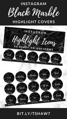 Amazing black marble Instagram highlight covers to take your Instagram game to the next level!