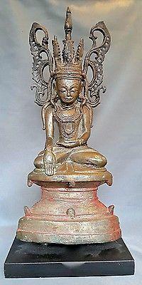 Antique-17th-Burmese-Bronze-crowned-Buddha-Bouddha-birmanie-burma