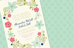 Spring Floral Invite by Little Sisters Studio on @creativemarket