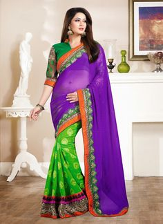 Be an absolute royalty of splendor in this green and violet colored georgette contemporary saree. This dashing contemporary saree adorn with patch border work, resham embroidery and stone work. Comes ...