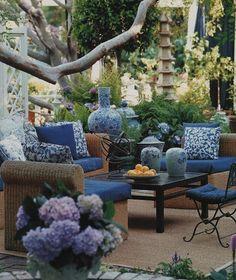 wind screen idea - blue fabrics on patio mary mdconald