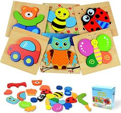 Amazon.com: Kulariworld Wooden Jigsaw Puzzles, Toys for Toddlers Boys Girls 1 2 3 Years Old, 6 Pieces Shapes Developmental Toy Preschool Educational Xmas Gift with Vibrant Color Animal and Vehicle Pattern: Toys & Games Toddler Boy Toys, Toys For Boys, Baby Toys, Kids Toys, Wooden Jigsaw Puzzles, T Baby, Developmental Toys, Xmas Gifts, Cool Toys