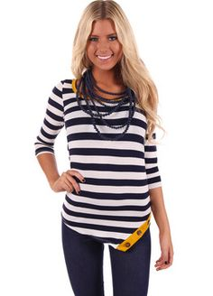 Navy Striped and Mustard Detail Top Before $36.99 -NOW $18.00