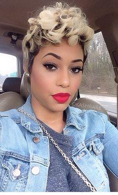 Blonde streaks.,. her makeup is pretty