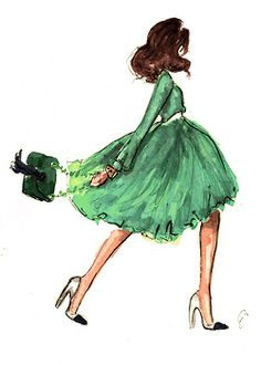 Love this illustration! | emerald green | beautiful sketch | fashion | style