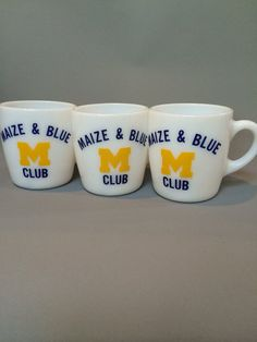 Maize and Blue M Club Milk Glass Mugs on Etsy, $9.99