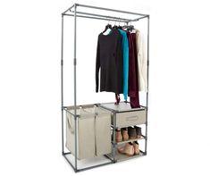 Home Essentials Closet Storage Organizer with Hamper & Drawer - Big Lots Laundry Storage, Closet Storage, Storage Rack, Closet Organization, Diy Wardrobe, Wardrobe Design, Wardrobe Rack, Wardrobe Ideas, Foyers