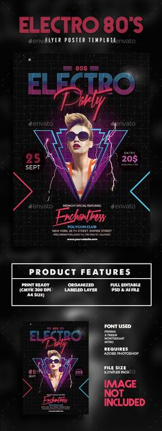 Buy Electro Music party flyer by guper on GraphicRiver. Spesification CMYK 300 DPI Size + Bleed Well Organized Layer PSd file Change image via smart object Editable text . Music Flyer, Music Logo, Club Poster, Party Poster, Festival Posters, Concert Posters, Festival Flyer, Vaporwave, Techno