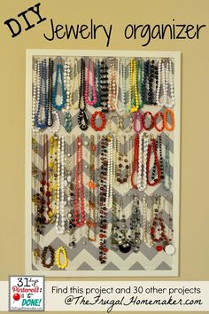 DIY Jewelry Organizer (day 15 of 31 days of Pinterest: Pinned to Done)