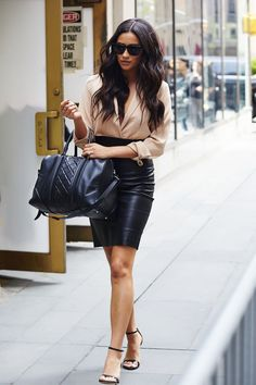 - camel nude top - strappy heels - leather pencil skirt