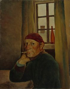 Self-Portrait, Vilho Lampi, Finnish National Gallery. The artist sitting at a table, smoking a cigarette Oil Painting Gallery, Art Gallery, Selfies, National Gallery, Oil Painting Reproductions, People Art, Illustration Art, Artwork, Portraits