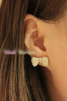 pearl bow earrings