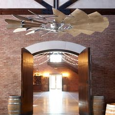 Quorum International Galvanized Windmill 15 Blade Hanging Indoor Ceiling Fan with Reversible Motor, and Blades Outdoor Ceiling Fans, Decor, Weathered Oak, Floor Fans, Home, Ceiling Fan Makeover, Ceiling Fan, Windmill, Ceiling