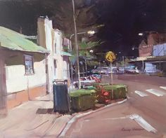 """Colley Whisson  Painting title: """"An evening in Redcliffe"""" oil."""