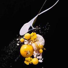 Mango mousse with apricot glaze, glutanious rice pudding, mango sphere, mango/coconut macaron, white chocolate puff, mango caviar, mango gel & coconut cream. Stunning dessert uploaded by @royalebrat #gastroart