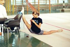 Rhythmic gymnast Irina Tchachina doing the splits.