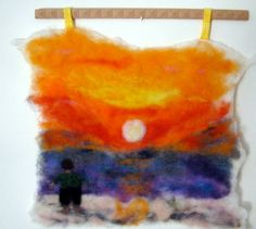Mediterranean Sunset Needle Felt Wall Hanging by cindyrquilts, $75.00