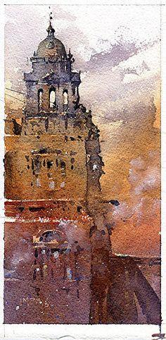 Iain Stewart - Glasgow (Scotland) City Chambers. Watercolor.