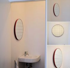 Red frame round silver mirror with red grid