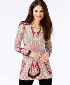 INC International Concepts Chain-Toggle Printed Tunic, Only at Macy's