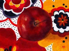 Apple Painting, Original Art, Still Life Fruit Abstract Realism Oil Painting, Targets, by Marina Petro