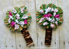 Celebrate the beautiful season of spring by making this pretty yarn wrapped blossoming spring tree craft. It is a great spring kids craft and the yarn wrapping and crunching tissue paper squares helps to work those important fine motor skills. Sheep Crafts, Yarn Crafts, Sewing Crafts, Paper Crafts, Spring Activities, Activities For Kids, Cherry Blossom Art, Spring Tree, Spring Crafts For Kids