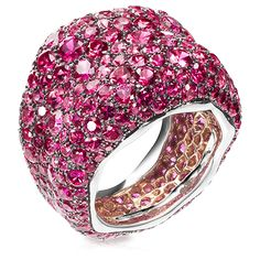 Fabergé Émotion Saphirs Roses Ring features round pink sapphires set in 18 carat white and rose gold.