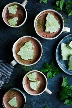 These Fresh Mint Hot Cocoa with Matcha Marshmallows from The Bojon Gourmet look so fun and delicious too! Hot Cocoa Recipe, Cocoa Recipes, Chocolate Recipes, Sweet Recipes, Christmas Food Gifts, Noel Christmas, Xmas, Christmas 2017, Christmas Candy